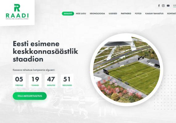 Raadi rohelise jalgpallipargi kodulehe tegemine