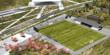 Raadi rohelise jalgpallipargi vaade linnulennult 3D